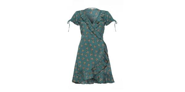 Dámske fľaškovo zelené šaty s volánkami a potlačou Uttam Boutique