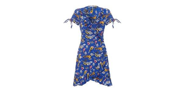Dámske modré šaty Uttam Boutique s volánmi a vtáčikmi