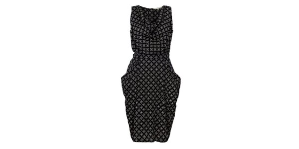 Dámske čierne šaty s potlačou Uttam Boutique