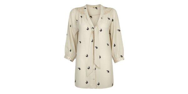 Dámska krémová blúzka s potlačou vtáčikov Uttam Boutique
