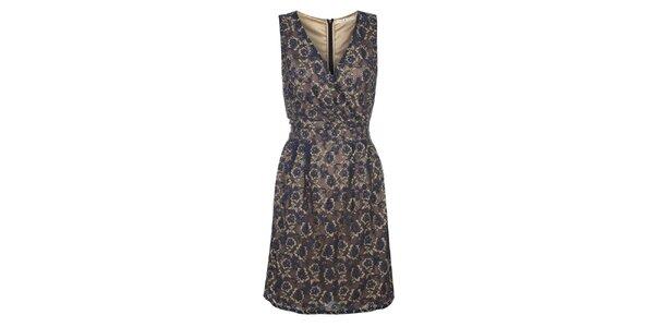 Dámske hnedo-modré šaty s kvetinovým printom Uttam Boutique
