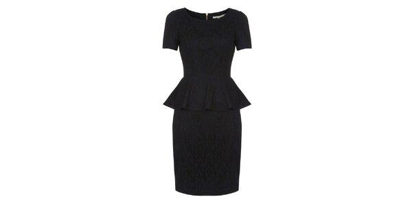 Dámske tmavo modré čipkované peplum šaty Uttam Boutique