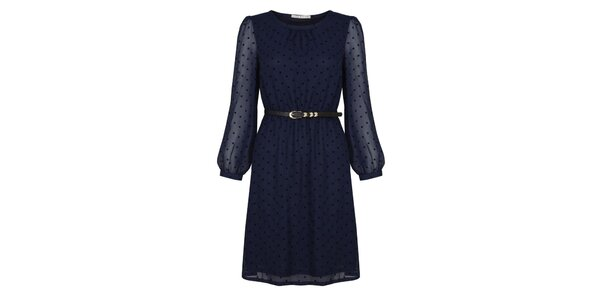 Dámske tmavo modré šaty s opaskom a bodkami Uttam Boutique