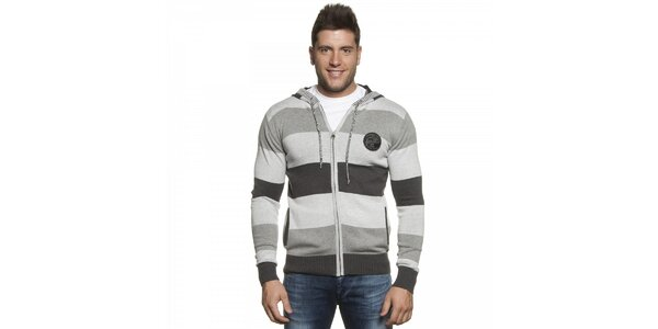 Pánsky šedý pruhovaný sveter Lois s kapucou
