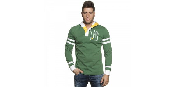 Pánske zelené tričko Lois s kapucou a bielymi detailami