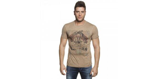 Pánske béžové tričko Lois s potlačou