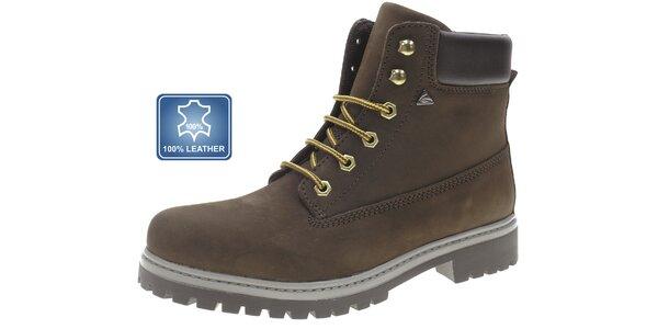 Pánske tmavo hnedé zimné kožené topánky Beppi