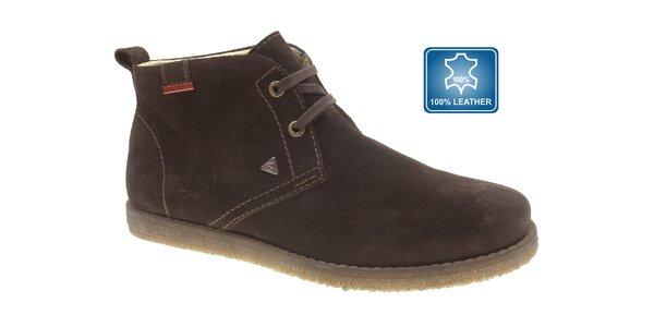 Pánske tmavo hnedé semišové topánky Beppi