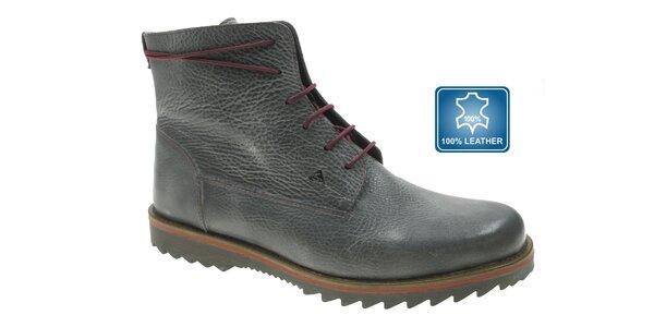 Pánske tmavo šedé kožené topánky Beppi