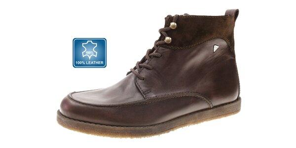 Pánske tmavo hnedé kotníčkové topánky Beppi