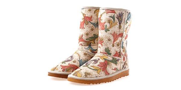 Dámske béžové topánky s kvetinovým vzorom Elite Goby