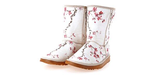 Dámske biele topánky s potlačou sakurových vetvičiek Elite Goby