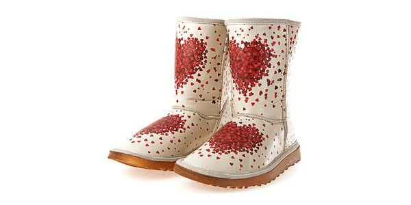 Dámske krémové topánky s potlačou srdiečok Elite Goby