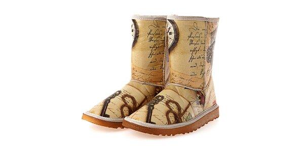 Dámske béžové topánky s retro potlačou Elite Goby