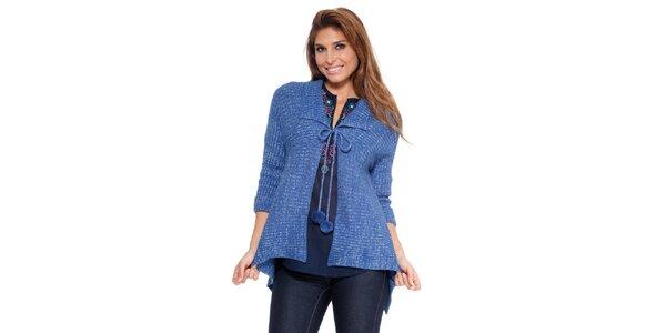Dámsky sýto modrý zaväzovací sveter s brmbolcami Kool