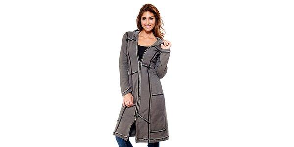 Dámsky šedý zošívaný kabátik na zips Kool