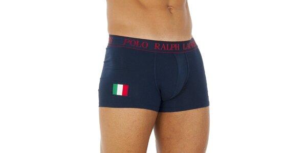 Pánske tmavo modré bavlnené boxerky Ralph Lauren s talianskou vlajkou