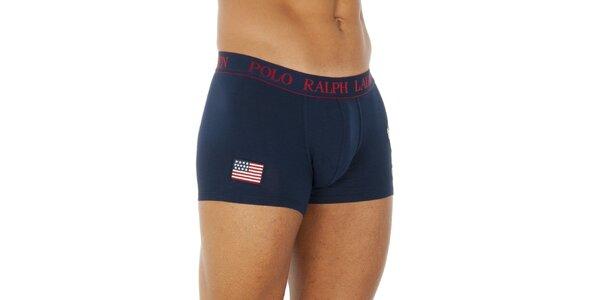 Pánske tmavo modré bavlnené boxerky Ralph Lauren s americkou vlajkou