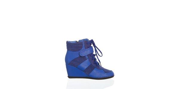 Dámskežiarivo modrékotníčkové topánky Moow na vysokom podpätku