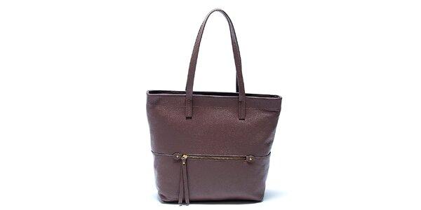 Elegantná hnedá kožená kabelka Renata Corsi