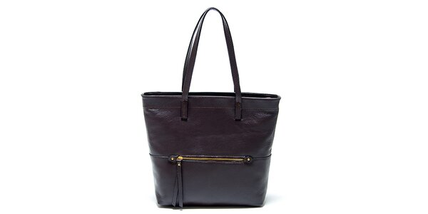 Elegantná tmavo hnedá kožená kabelka Renata Corsi