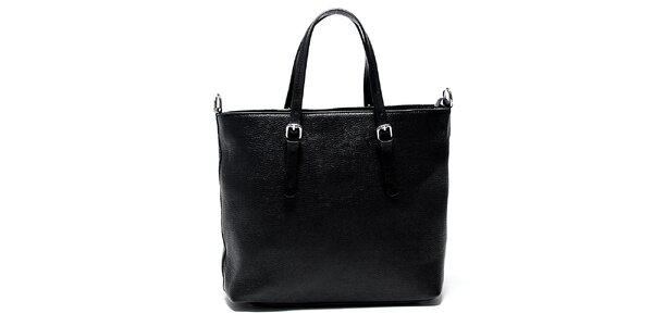 Elegantná čierna kožená kabelka Renata Corsi