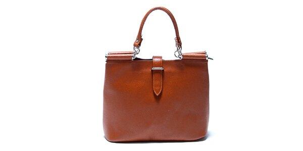 Originálna koňakovo hnedá kožená kabelka Renata Corsi b3cbccbd02d