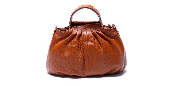 Originálna kožená kabelka v koňakovej farbe Renata Corsi