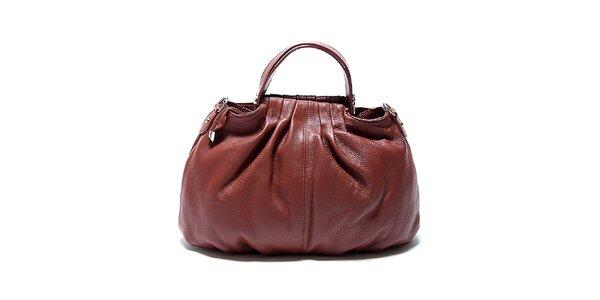 Originálna hnedá kožená kabelka Renata Corsi