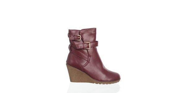 Dámskevínové kotníčkové topánky Moow s prekríženými opaskami