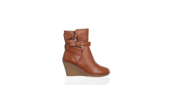Dámske hnedo-oranžové kotníčkové topánky Moow s prekríženými opaskami