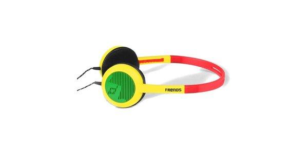 Designové červeno-žlto-zelené slúchadlá Frends