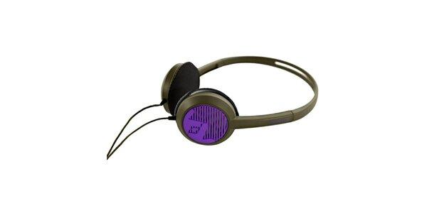 Designové čierno-fialové slúchadlá Frends