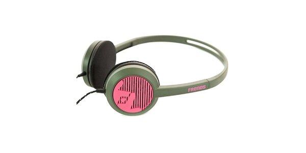 Designové čierno-ružové slúchadlá Frends