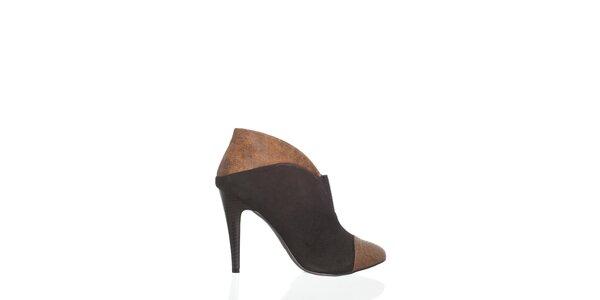 Dámske čierno-béžovékotníčkové topánkyMoow