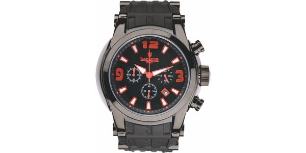 Pánske čierne hodinky s červenými detailmi a chronografom Lancaster