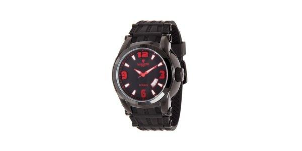 Pánske čierne analogové hodinky s červenými detailmi Lancaster