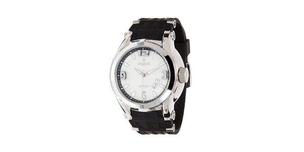 Pánske čierno-strieborné analogové hodinky s dátumovkou Lancaster
