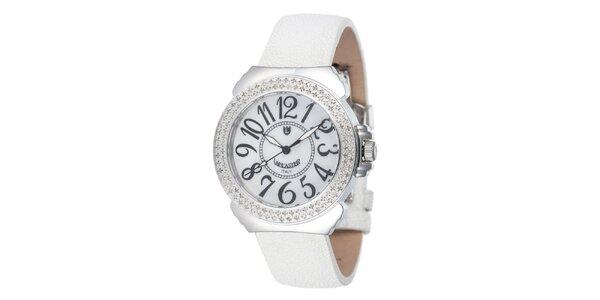 Dámske biele analogové hodinky Lancaster s diamantmi