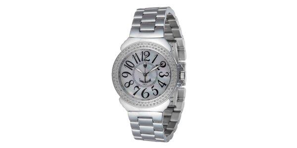 Dámske oceľové hodinky s bielym displejom Lancaster