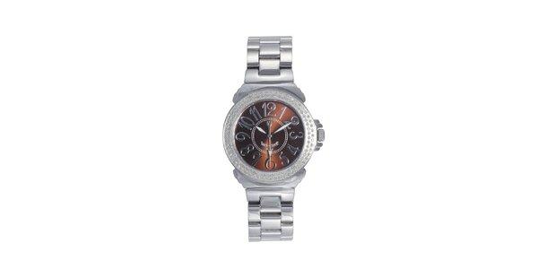 Dámske oceľové hodinky s hnedým displejom Lancaster