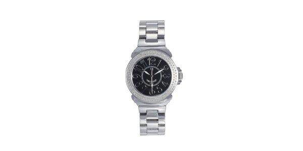 Dámske oceľové hodinky s čiernym displejom Lancaster