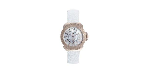 Dámske ružovo-biele hodinky s perleťovým displejom Lancaster