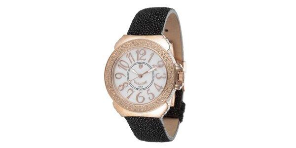 Dámske ružovo-čierne hodinky s perleťovým displejom Lancaster