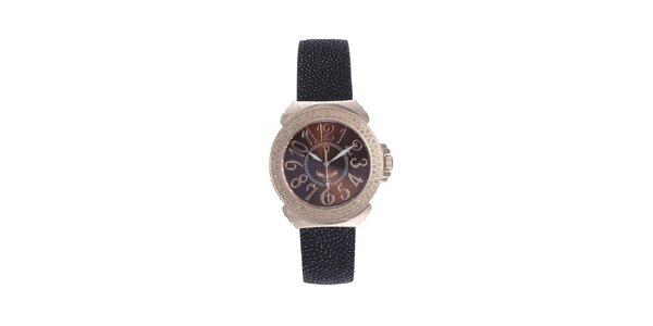 Dámske ružovo-čierne hodinky s karamelovým displejom Lancaster