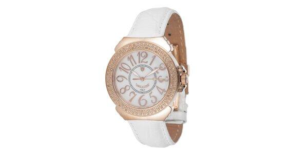 Dámske ružovo-biele hodinky s drobnými diamantmi Lancaster