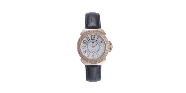 Dámske čierno-ružové hodinky s drobnými diamantmi Lancaster