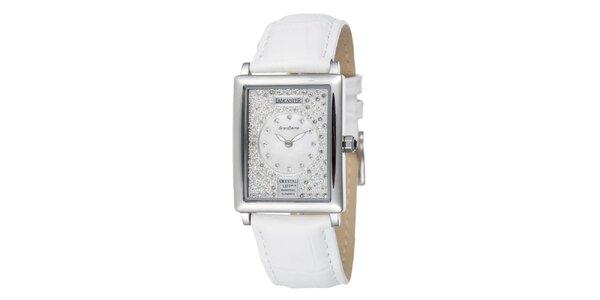 Dámske strieborné oceľové hodinky Lancaster s kryštálmi a bielym remienkom