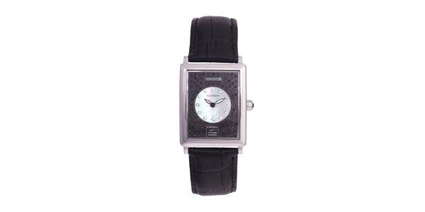 Dámske strieborné oceľové hodinky Lancaster s kryštálmi a koženým remienkom