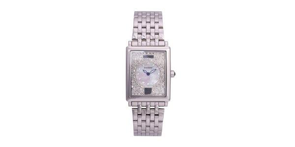 Dámske strieborné oceľové hodinky Lancaster s kryštálmi a modrými ručičkami